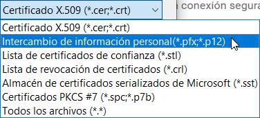Formato de certificados .pfx, .p12