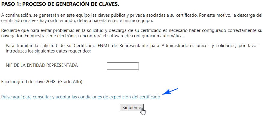 Generación de claves para el certificado de representante