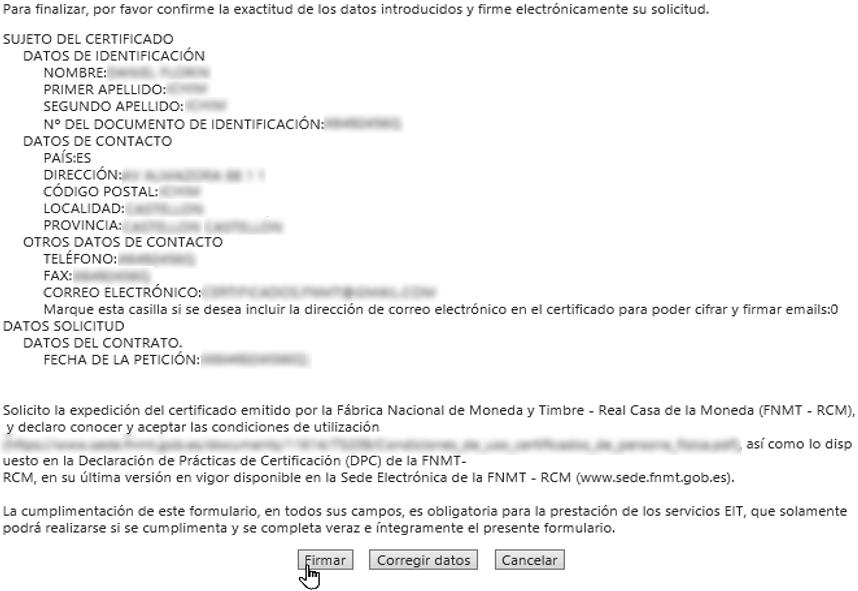 Firmar los datos con el Certificado Digital