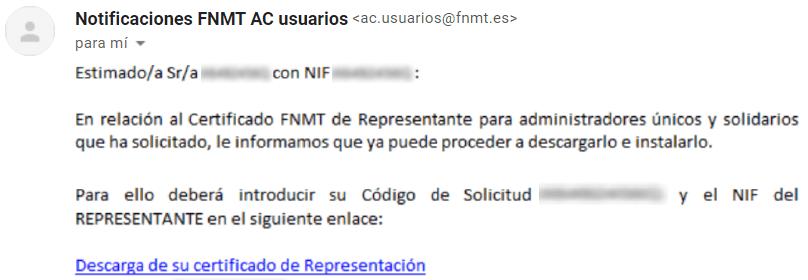Notificación por email para el administrador