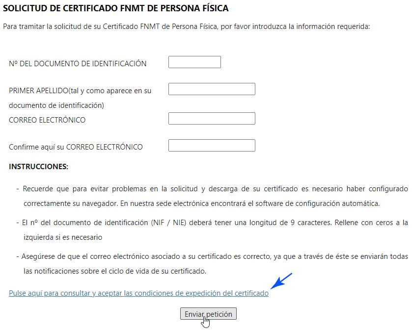 Solicitud del Certificado Digital de Persona Física
