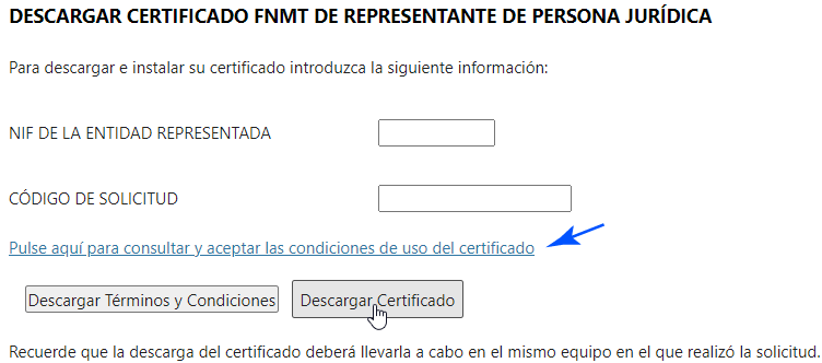Descargar el Certificado Digital de Jurídica