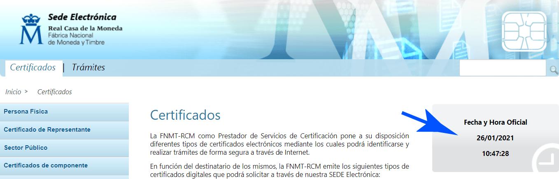 Hora del equipo para detectar el Certificado Digital