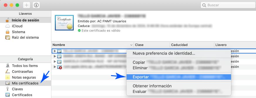 Exportar una copia del Certificado Digital en Mac