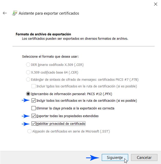 Formato de la copia de seguridad