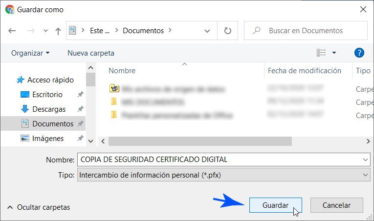 Ubicación para el respaldo del Certificado de Chrome