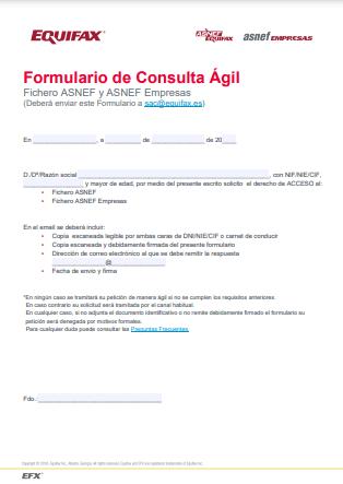 Formulario de consulta ASNEF online
