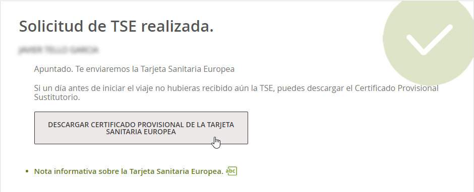 Certificado provisional de la Tarjeta Sanitaria Europea