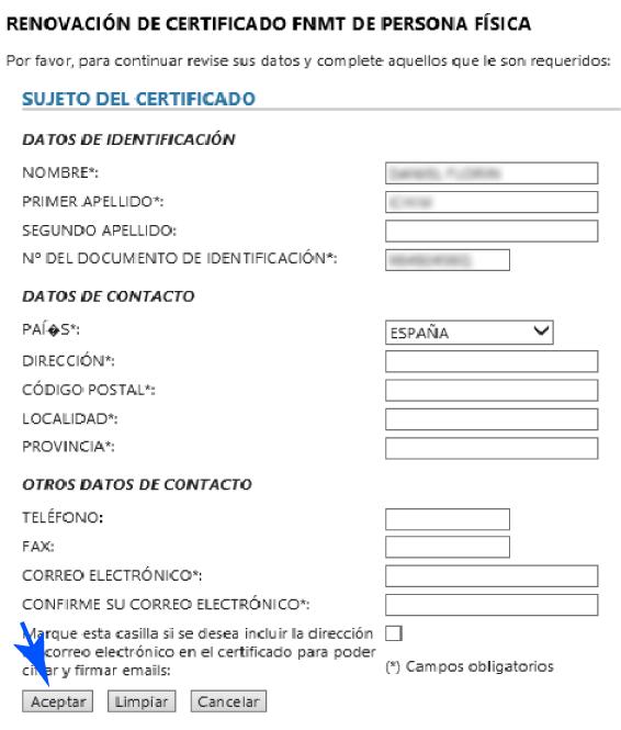 Datos del titular del Certificado Digital