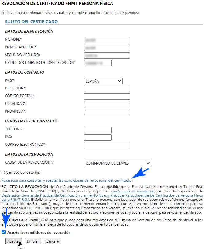 Solicitud para revocar o anular el Certificado Digital