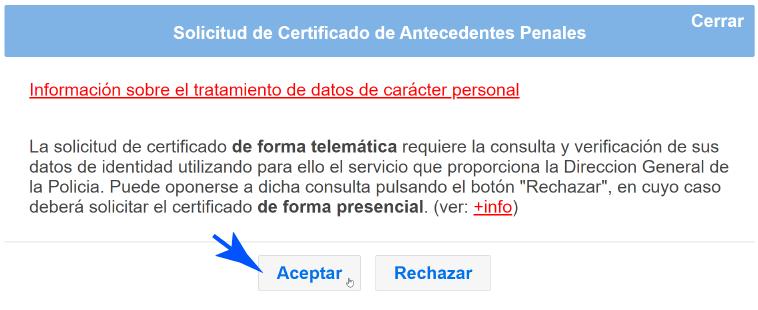 Aceptar acceso al Certificado
