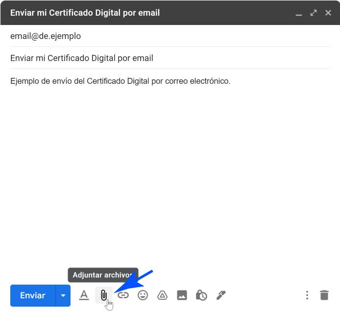 Adjuntar certificado al correo redactado