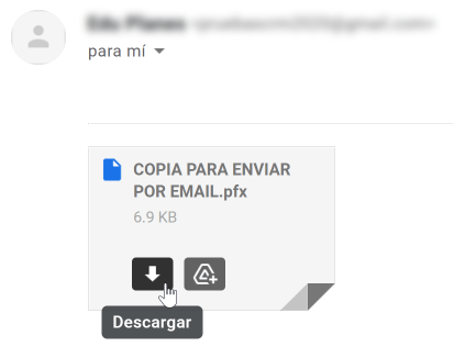 Resultado para el receptor del archivo enviado por email